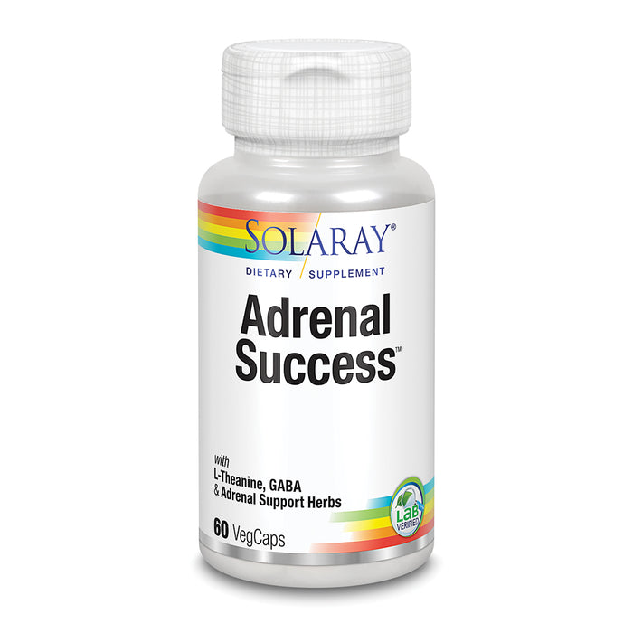 Solaray Adrenal Success | Herbal Adaptogens Plus GABA & L-Theanine for Healthy Stress Support | 30 Servings | 60 VegCaps