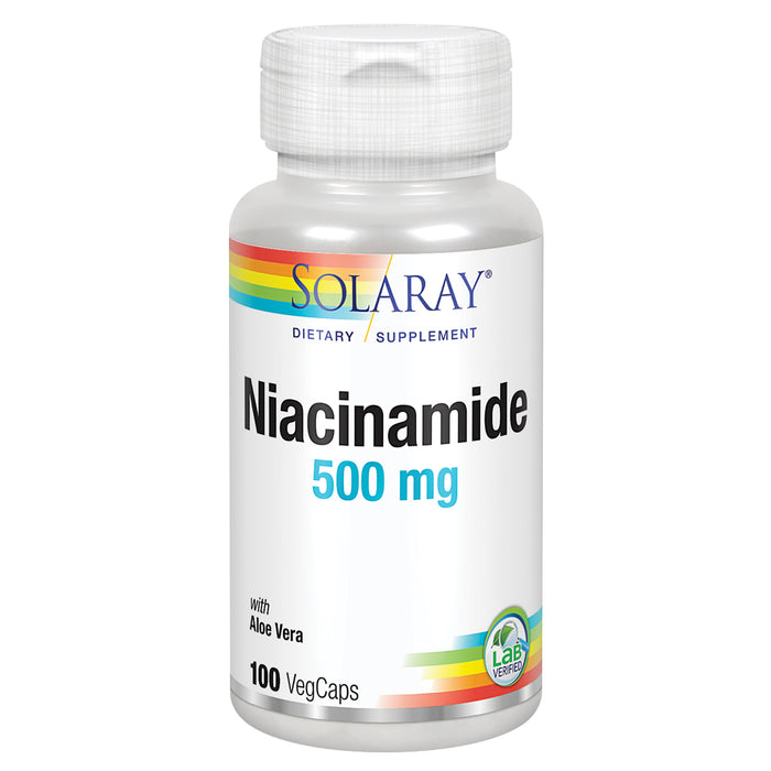 Solaray Niacinamide 500 mg | Vitamin B-3 | Energy Metabolism, Circulation, Nerve & Skin Health Support, 100 CT