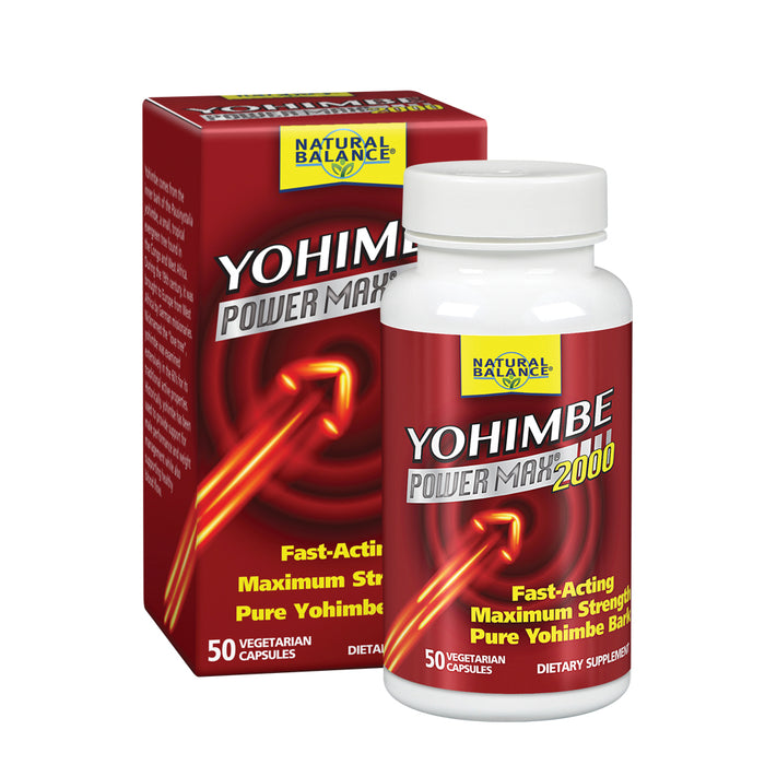 Natural Balance Yohimbe PowerMax 2000 | Maximum Strength Formula w/ Pure Yohimbe Bark | Sexual Energy & Virility Supplement | 50 VegCaps, 25 Serv.