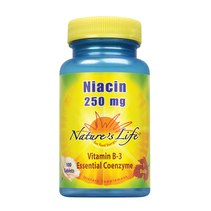 Nature's Life Niacin 250 mg | Vitamin B3 Supplement | Healthy Blood Lipid and Skin Support | Lab Verified | 100 Tablets
