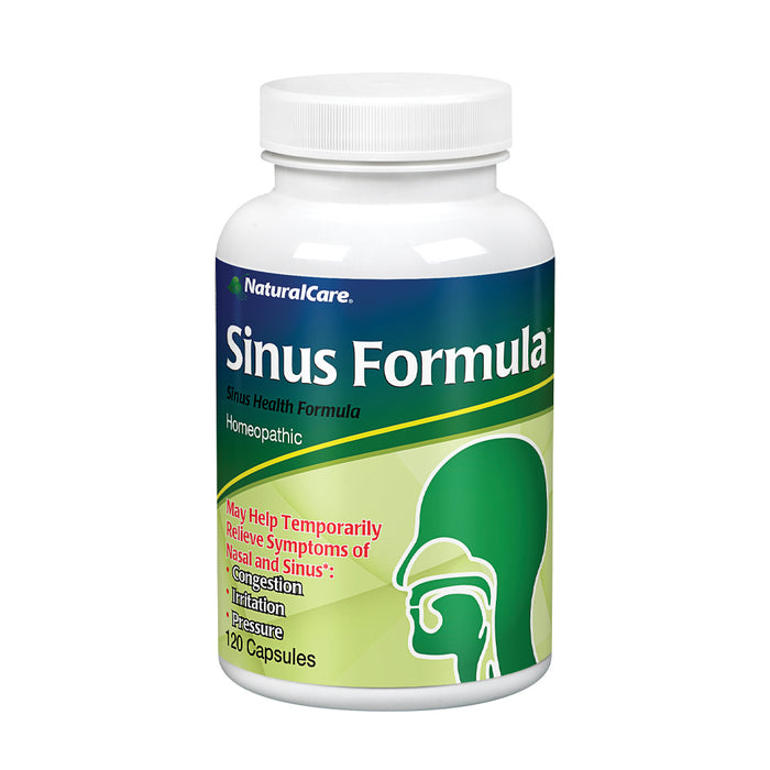 NaturalCare Sinus Formula | Homeopathic Support for the Temporary Relief of Sinus Congestion and Pressure | 120 Capsules