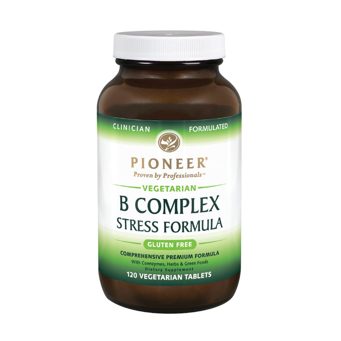 Pioneer B Complex Stress Formula | High Potency B Vitamins | Whole Food Based | Verified No Gluten | 120 Vegetarian Tablets