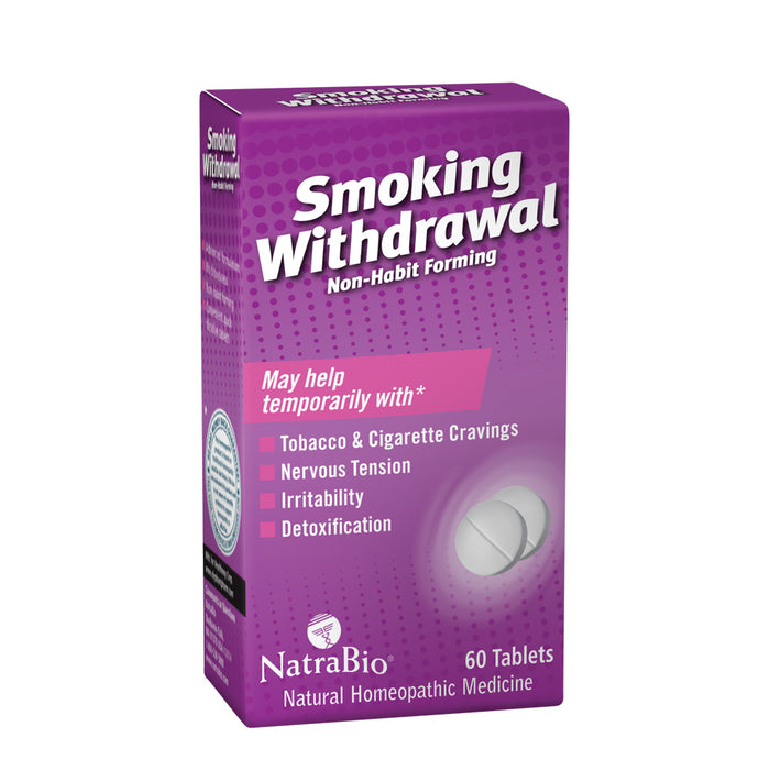 NatraBio Smoking Withdrawal Homeopathic Formula |  May Temporarily Help w/ Tobacco & Cigarette Cravings, Irritability & Detox | 60 Quick Dissolve Tabs