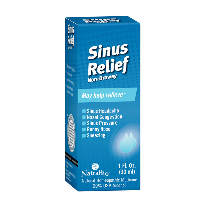 NatraBio Sinus Relief Homeopathic Drops | Temporary Relief from Sinus Headache & Pressure, Congestion, Sneezing & Runny Nose | Non-Drowsy | 1oz