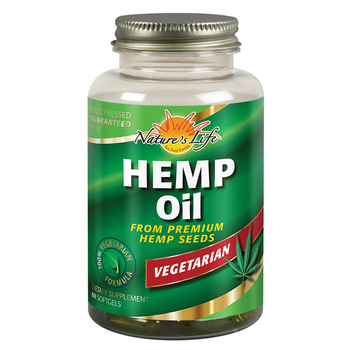 Natures Life Hemp Seed Oil, Vegetarian | W/ Omega Fatty Acids | Skin Health, Heart, Brain & Mood Support | 60ct, 30 Serv