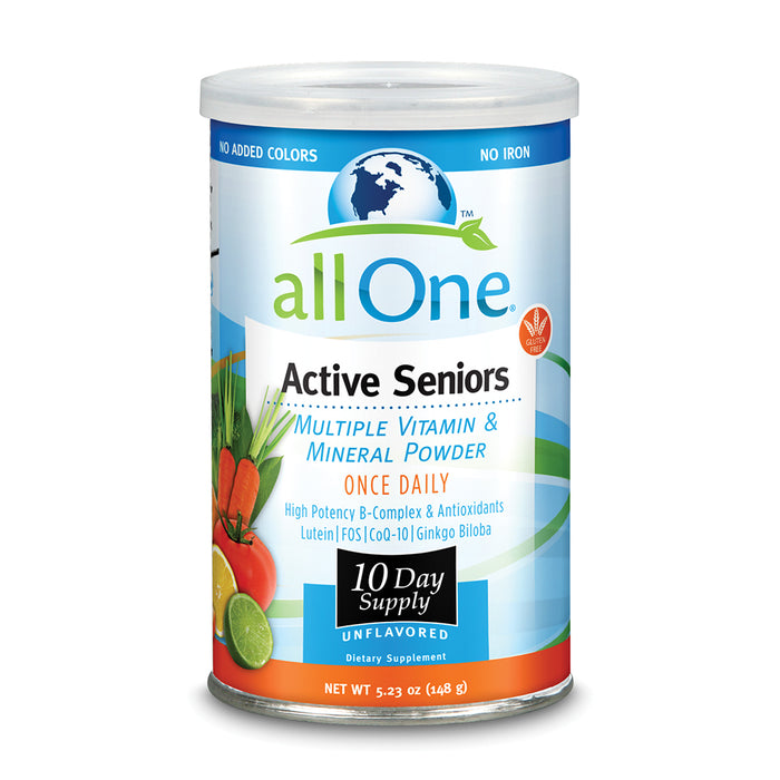 allOne Multiple Vitamin & Mineral Powder, For Active Seniors | Once Daily Multivitamin, Mineral & Amino Acid Supplement w/4g Protein (10 Servings)