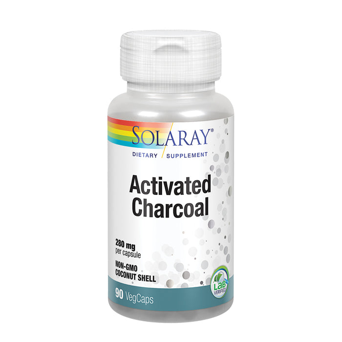 Solaray Activated Charcoal 280mg | Coconut Source | Healthy Inner Cleansing & Digestive Tract Support | Non-GMO, Vegan & Lab Verified | 90 Capsules