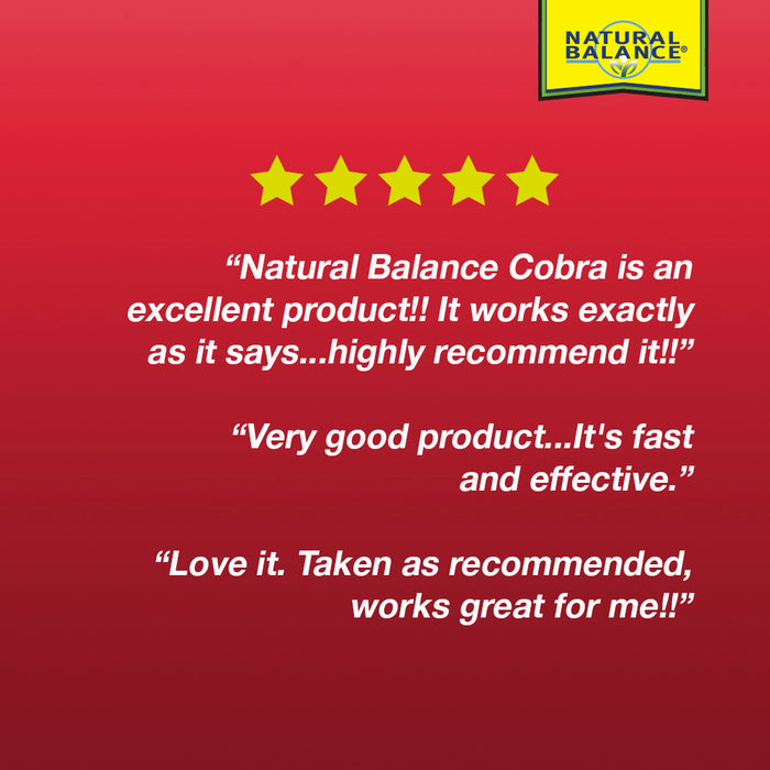 Natural Balance Cobra Sexual Energy Supplement | Mens Formula with Yohimbe & Horny Goat Weed for Virility Support | Lab Verified | 60 VegCaps