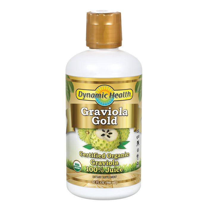 Dynamic Health Graviola Gold | Organic Graviola 100% Juice | Vegetarian, No Gluten or BPA, Dietary Supplement | 32oz