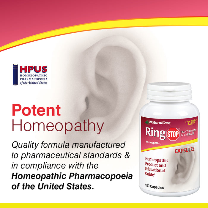 NaturalCare RingStop | Ringing in the Ear Aid | Homeopathic Support For Tinnitus Relief, Ear Noise & Sensitivity to Sound (180 CT)