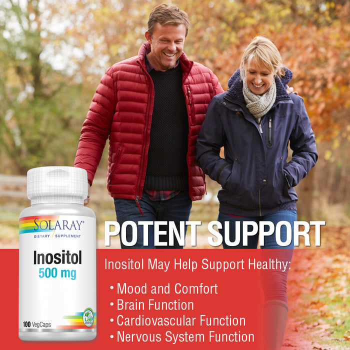 Solaray Inositol 500 mg Capsules | May Help Support Healthy Brain, Cardiovascular, Nervous System Function and Mood | Non-GMO, Vegan | 100 VegCaps