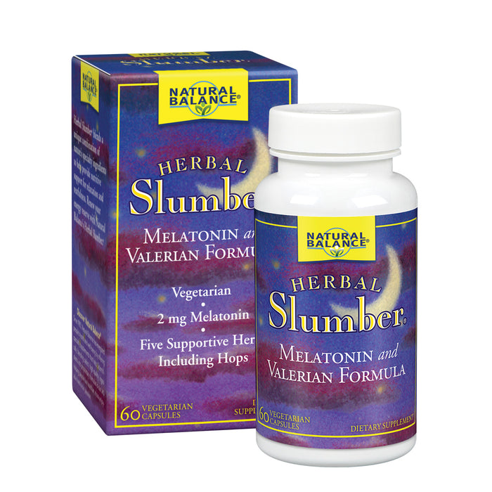Natural Balance Herbal Slumber Supplement | Relaxation & Sleep Support Formula with Melatonin,Valerian & Hops | 60 VegCaps