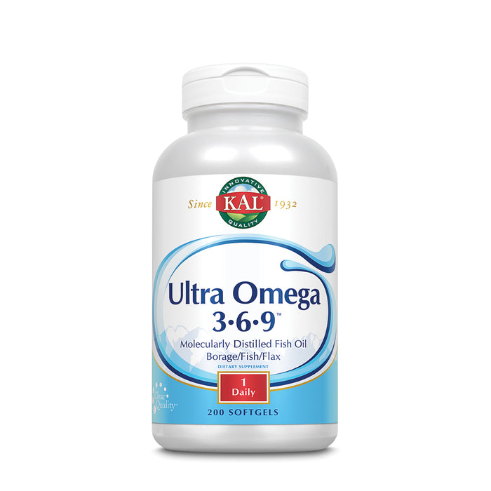 KAL Ultra Omega 3-6-9 1200mg | Fish Oil w/ Cold Pressed Flaxseed & Borage Oil | Skin, Hair, Heart, Memory