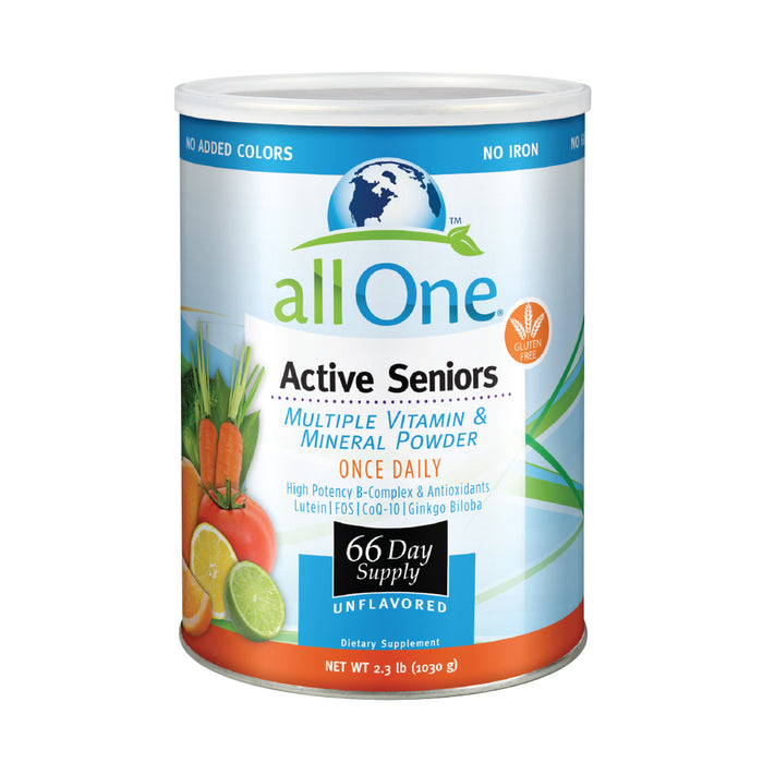 allOne Multiple Vitamin & Mineral Powder, For Active Seniors | Once Daily Multivitamin, Mineral & Amino Acid Supplement w/4g Protein (66 Servings)