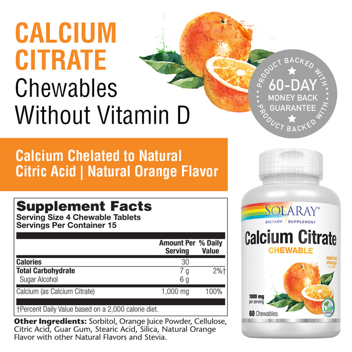 Solaray Calcium Citrate 1000mg | Natural Orange Flavor | Teeth & Bone Health, Nervous, Muscular & Cardiovascular System Support | Vegan | 60 Chewables