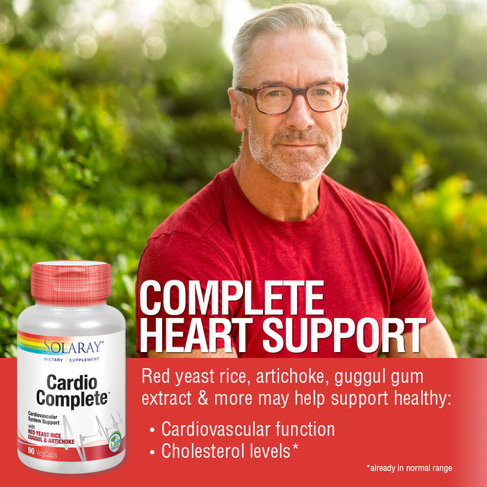 Solaray CardioComplete, Cardiovascular System Support | Red Yeast Rice, Guggul & Artichoke Extracts & More | 90 VegCaps