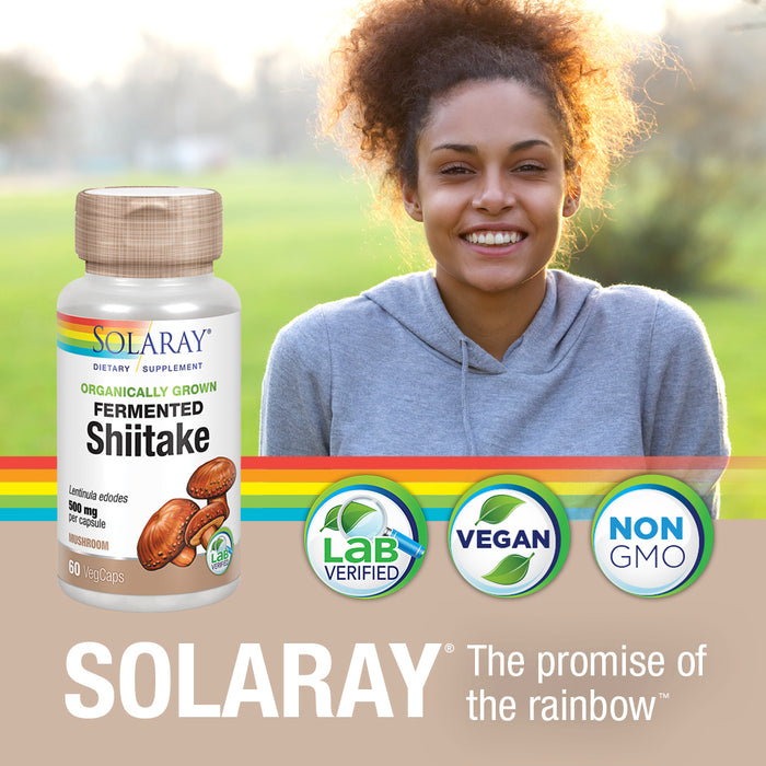 Solaray Fermented Shiitake Mushroom 500mg | Healthy Immune, Liver & Digestive Function Support | Non-GMO & Vegan | 60 VegCaps