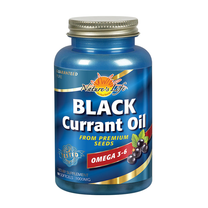 Nature's Life Black Currant Seed Oil 1000 mg | With Omega-3 ALA, Omega-6 GLA and Stearidonic Acid | 60ct