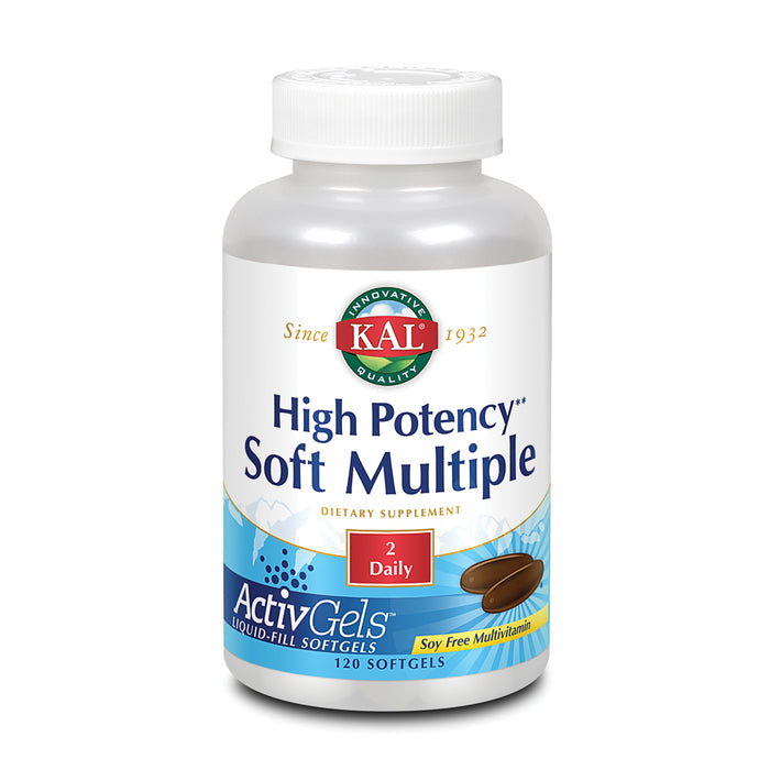 KAL High Potency Soft Multiple ActivGels | Soft Gel Multivitamins for Men & Women | Rice Bran Oil Base | No Soy | Easy to Swallow | 120 Softgels