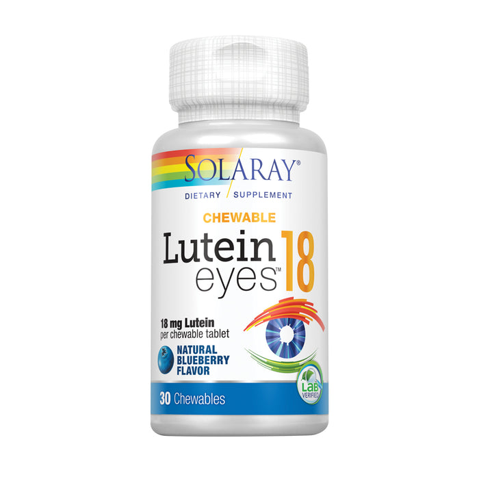 Solaray Chewable Lutein Eyes 18 | Eye & Macular Health Support Supplement w/ Naturally Occurring Lutein and Zeaxanthin | Non-GMO | 30 Chewables