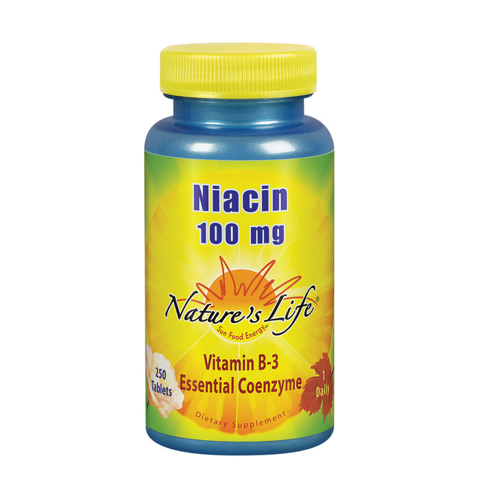 Natures Life Niacin 100mg | Vitamin B3 Supplement | Healthy Blood Lipid, Circulation & Skin Support | 250CT