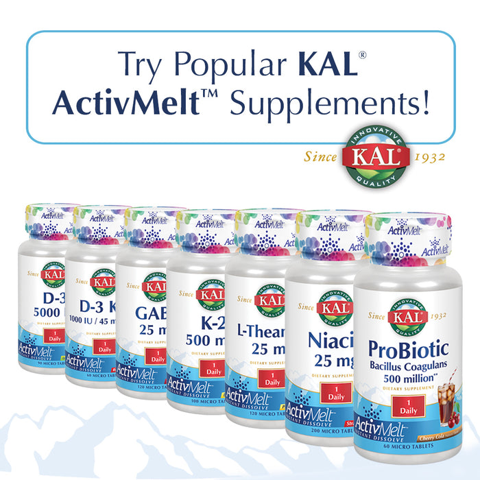 KAL Vitamin K-2 500 mcg ActivMelt | Natural Lemon Flavor | Healthy Bone Formation & Cardiovascular Function Support | Vegetarian | 100 Micro Tablets