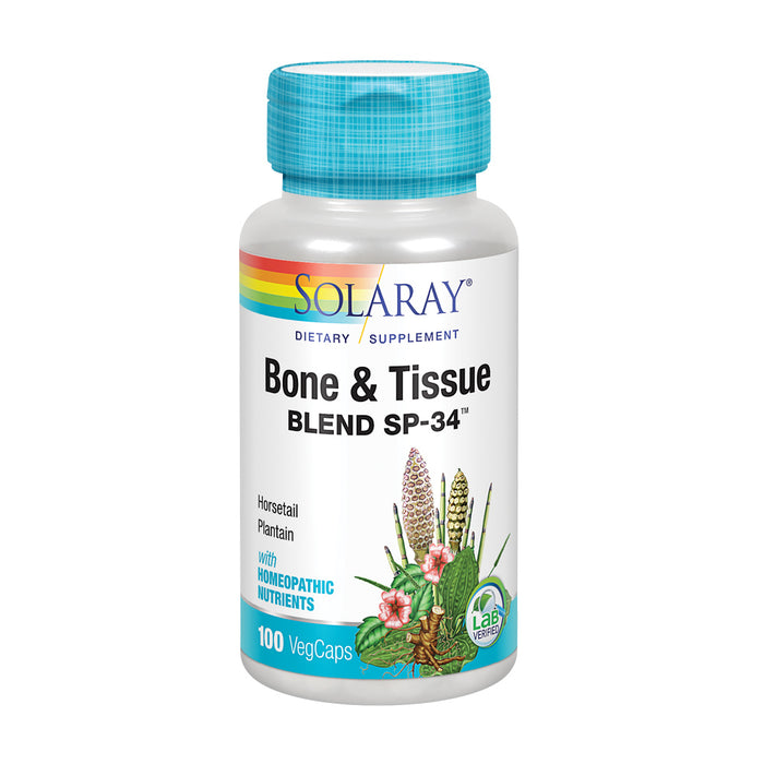 Solaray Bone and Tissue Blend SP-34 | Herbal Blend w/ Cell Salt Nutrients for Healthy Bones & Connective Tissues Support | 50 Servings | 100 VegCaps