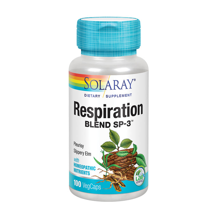 Solaray Respiration Blend SP-3 | Herbal Blend w/ Cell Salt Nutrients to Help Support Healthy Respiration | Non-GMO, Vegan | 50 Servings | 100 VegCaps