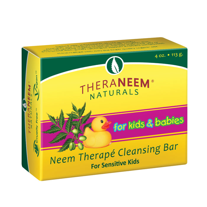Theraneem Naturals Neem Therap Cleansing Bar for Kids & Babies | For Sensitive Kids | Organic Neem Oil, Calendula Extract, Shea Butter & More | 4 oz