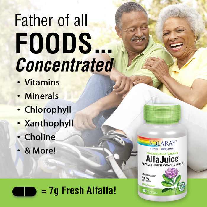 Solaray AlfaJuice 315 mg | Alfalfa Juice Concentrate | Naturally Occurring Vitamins, Minerals, Chlorophyll & More | 180 VegCaps