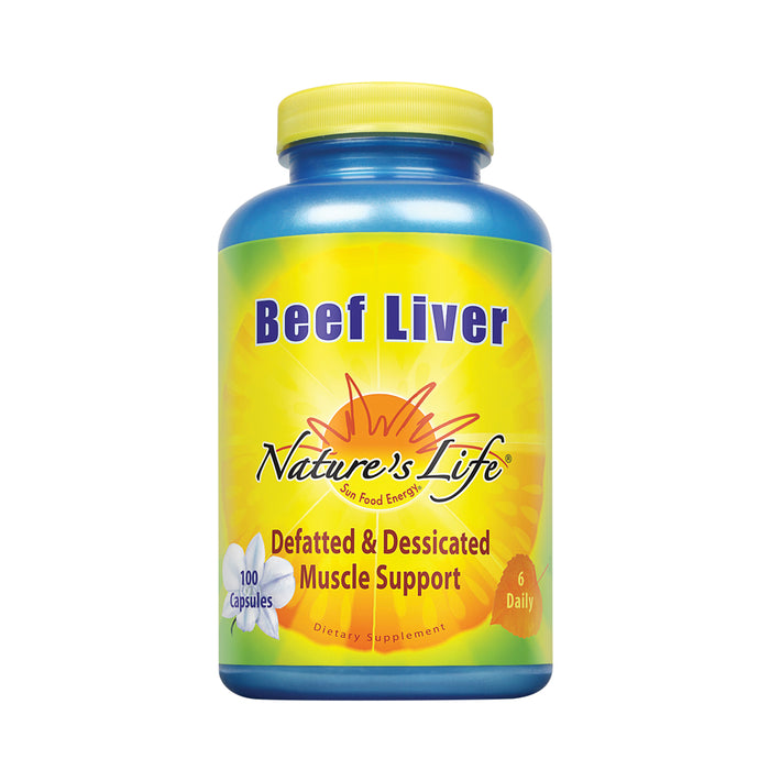 Nature's Life Desiccated Beef Liver 1500mg | From Defatted Argentine Cattle | Naturally Occurring Iron Supplement | 100 Capsules
