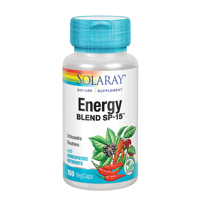 Solaray Energy Blend SP-15 | Herbal Blend w/ Cell Salt Nutrients | Healthy Energy, Focus & Stamina Support | Non-GMO, Vegan | 50 Serv | 100 VegCaps