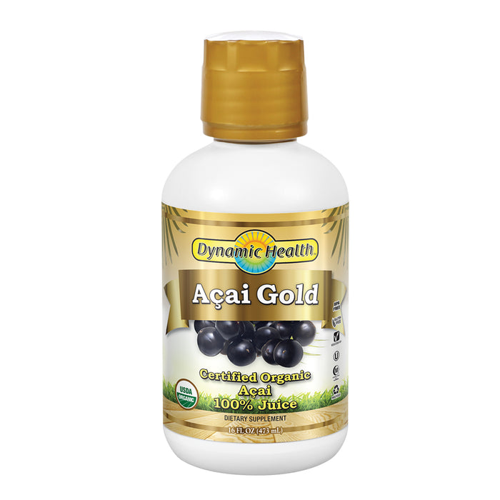 Dynamic Health Acai Gold | Organic Acai 100% Juice | Vegetarian, No Gluten or BPA, Dietary Supplement | 16oz