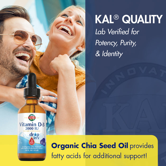KAL Vitamin D-3 2000 IU Dropins in Organic Chia Seed Oil, Natural Blueberry | Healthy Immune & Bone Support | 590 Serv.