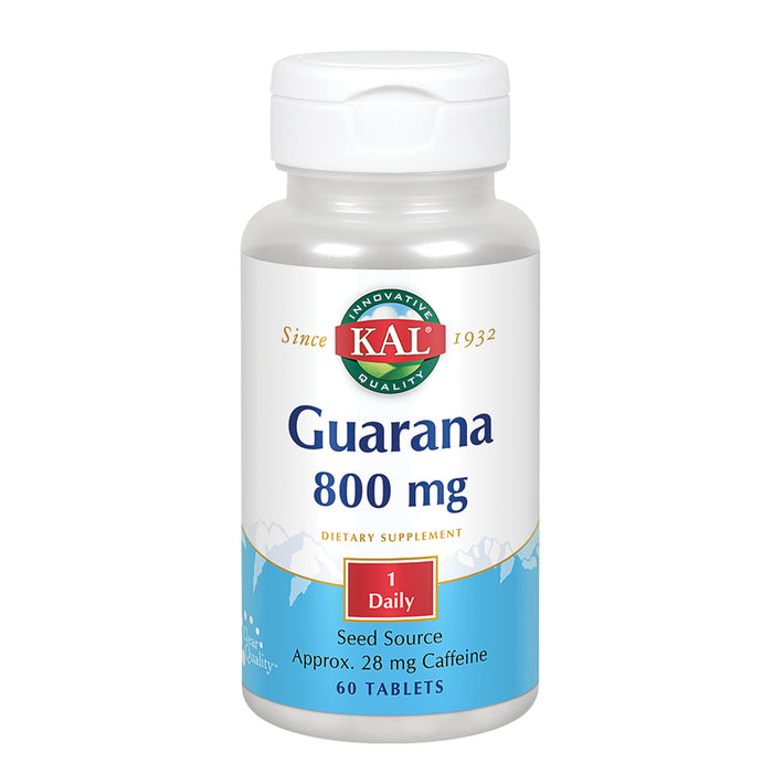 KAL Guarana 800 mg | Approx. 28 mg of Naturally Occurring Caffeine | Healthy Energy & Focus Support | 60 Tablets