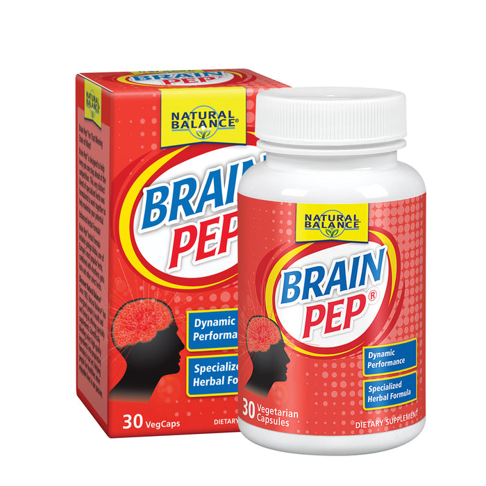 Natural Balance Brain Pep | Brain Function Supplement w/ Ginkgo, Kola Nut | Memory & Focus Support, 30 VegCaps, 15 Serv.