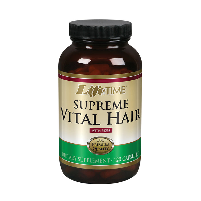 Lifetime Supreme Vital Hair | Supports Healthy Hair, Nails & Skin | Biotin, MSM, Vitamins B, C, & A, Zinc, Horsetail & More | 120 Capsule, 30 Serving