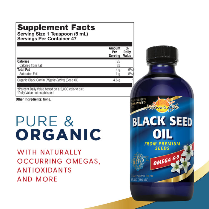 Nature's Life Black Seed Oil, Pure | Immune, Digestion & Heart Function Support | Hair & Skin Health | 8oz, 47 Serv.
