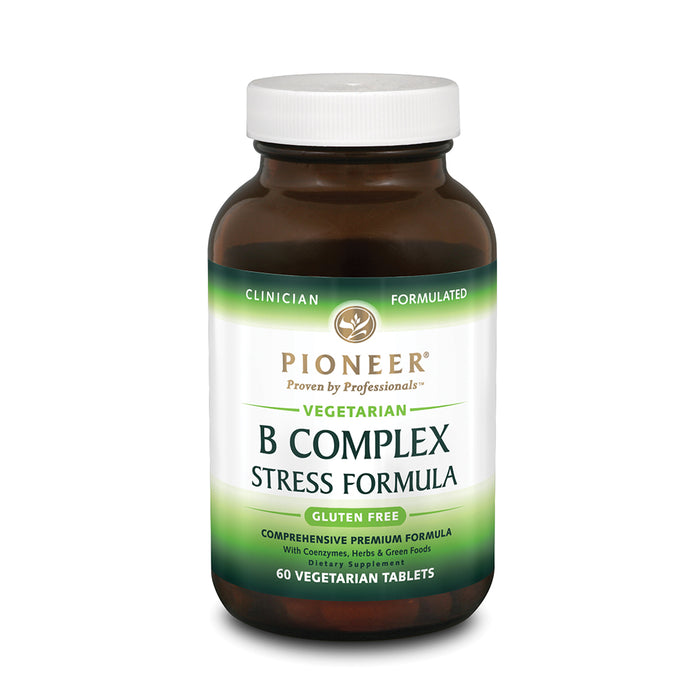 Pioneer B Complex Stress Formula | High Potency B Vitamins | Whole Food Based | Verified No Gluten | 60 Vegetarian Tablets