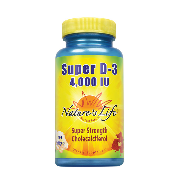 Nature's Life Super D-3 4000 IU | High Potency Vitamin D Supplement | May Support Healthy Bones, Teeth & Immune System | 100 Softgels