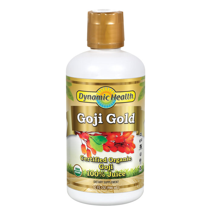 Dynamic Health Goji Gold | Organic Goji 100% Juice | Vegetarian, No Gluten or BPA, Dietary Supplement | 32oz