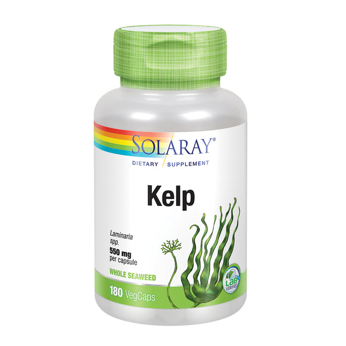 Solaray Kelp 550 mg with Folic Acid for Healthy Thyroid Function, Energy & Metabolism Support | Non-GMO | 180 VegCaps