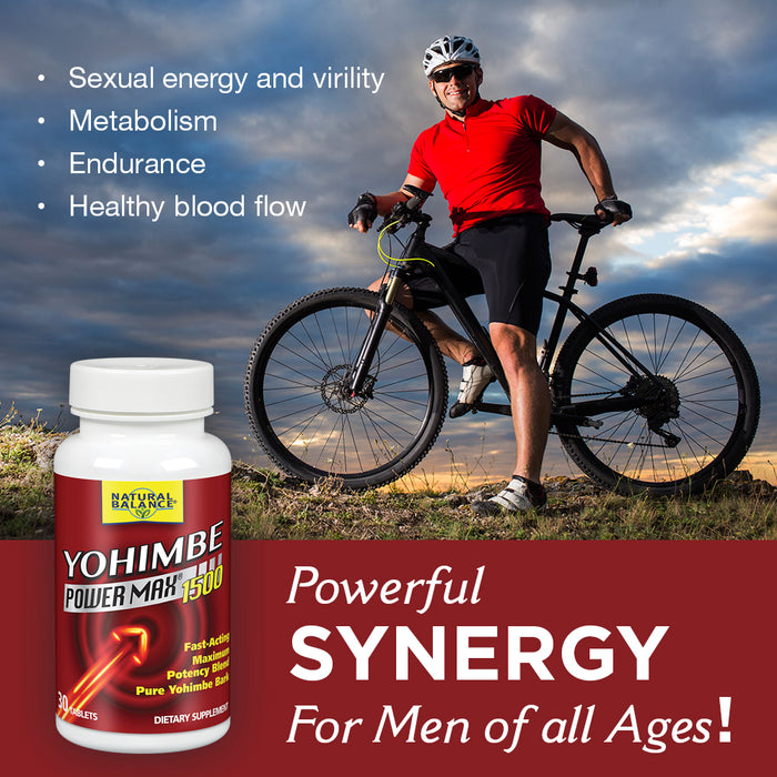 Natural Balance Yohimbe PowerMax 1500 | Sexual Energy & Virility Support w/ Yohimbe, Ginseng & Taurine | 30 CT