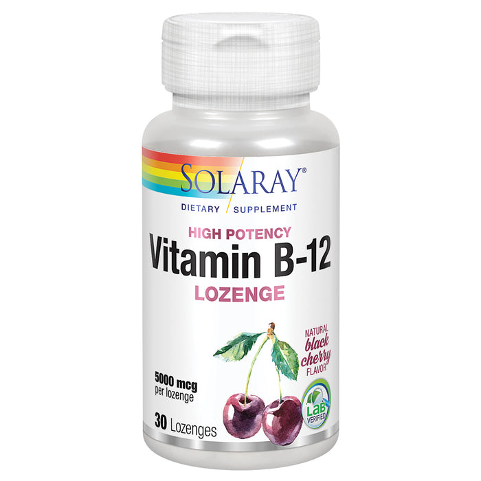 Solaray Vitamin B-12 5000mcg Lozenges | Natural Cherry Flavor | Healthy Energy & Nerve Function Support | 30ct