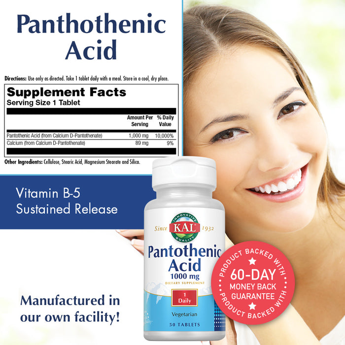 KAL Pantothenic Acid Sustained Release 1000mg | For Energy Storage & Release | Supports Metabolism of Carbs, Fats & Proteins | Vegetarian | 50ct