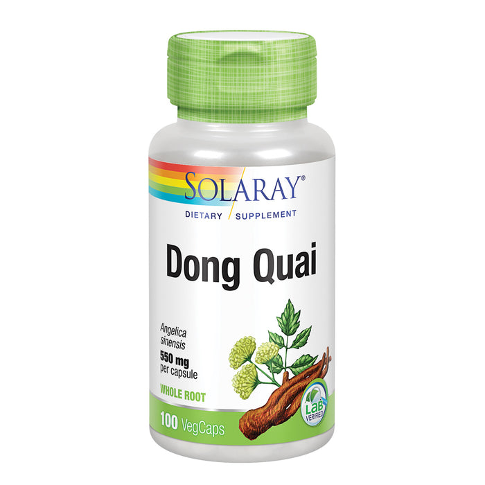 Solaray Dong Quai Root 550mg | Healthy Menstrual & Menopausal Support | Womens Health Supplement | Whole Root | Non-GMO, Vegan & Lab Verified | 100ct