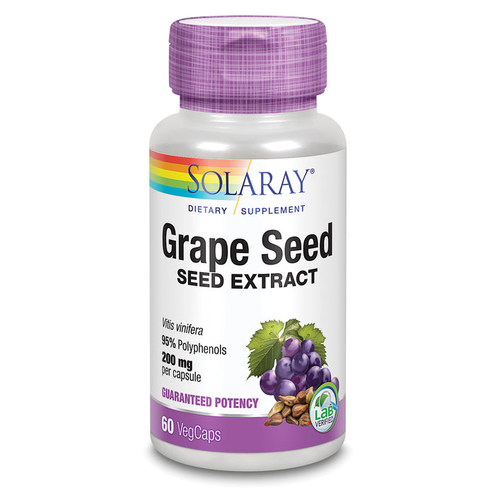 Solaray Grape Seed Extract 200 mg Plus Bioflavonoid Complex | Healthy Cardiovascular & Blood Vessel Support | 60 VegCaps