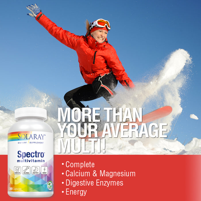 Solaray Spectro Multivitamin with Iron | Cal/Mag, Energizing Greens & Herbs with Digestive Enzymes