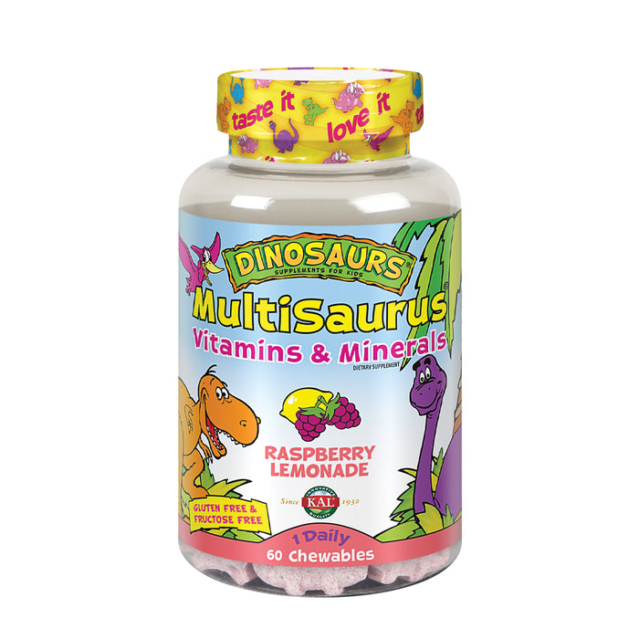 KAL Kids MultiSaurus Vitamins & Minerals | Raspberry Lemonade Flavor | Childrens Daily Multivitamin | 60 Chewables