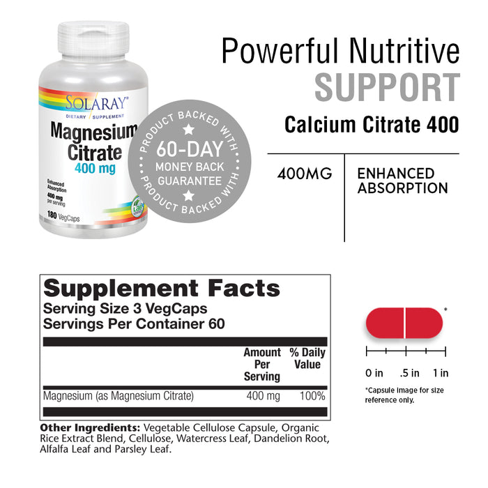 Solaray Magnesium Citrate 400mg | Nutritive Support for Healthy Heart, Muscle, Nerve & Circulatory Function | Chelated for Absorption | 180 Count